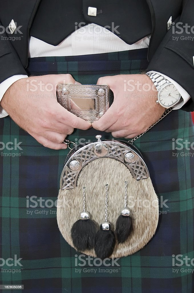 Irish kilt traditional men's skirt stock photo