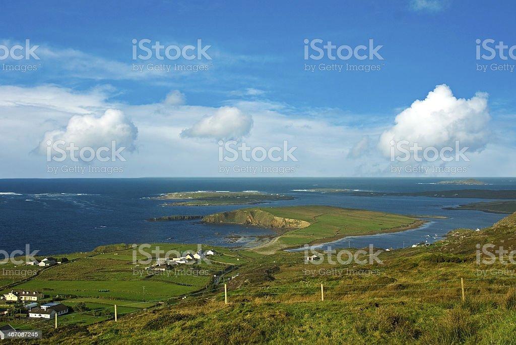 Irish landscape at sunset - dingle peninsula stock photo