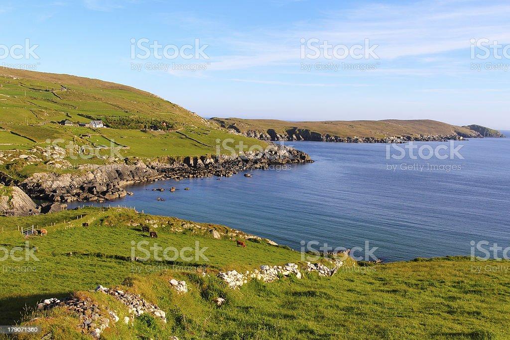 Irish landscape at sunset in Beara royalty-free stock photo