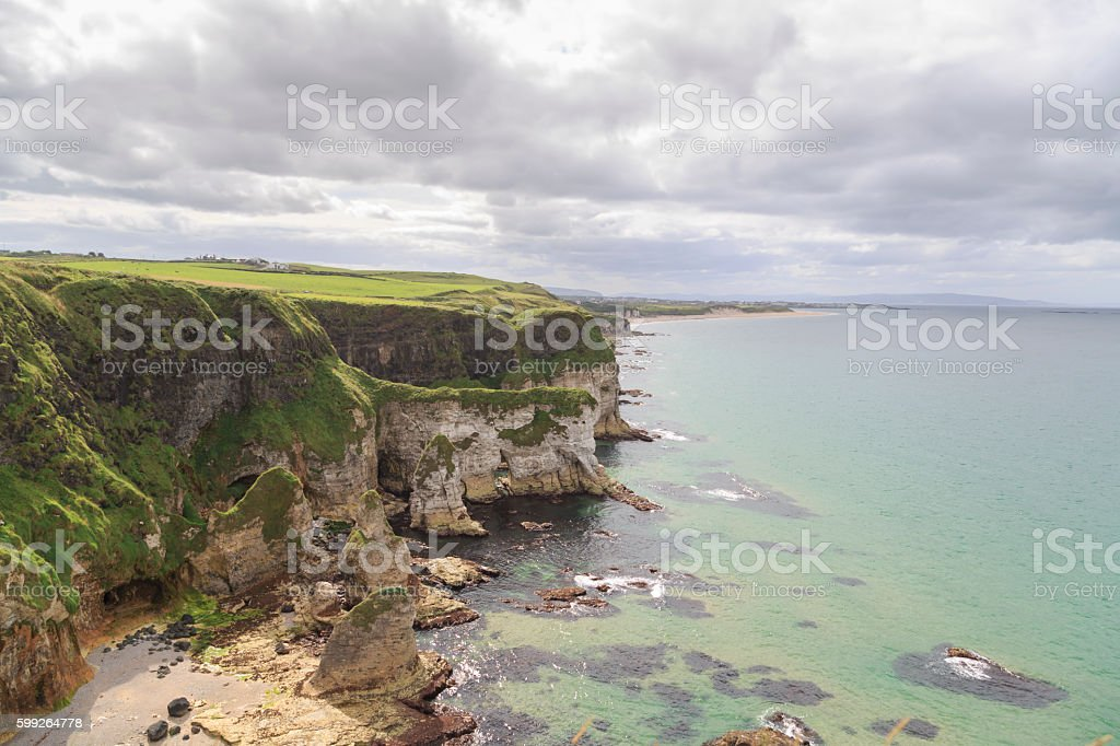 Irish  Landscape - Cliffs near Portrush in Northern Ireland stock photo