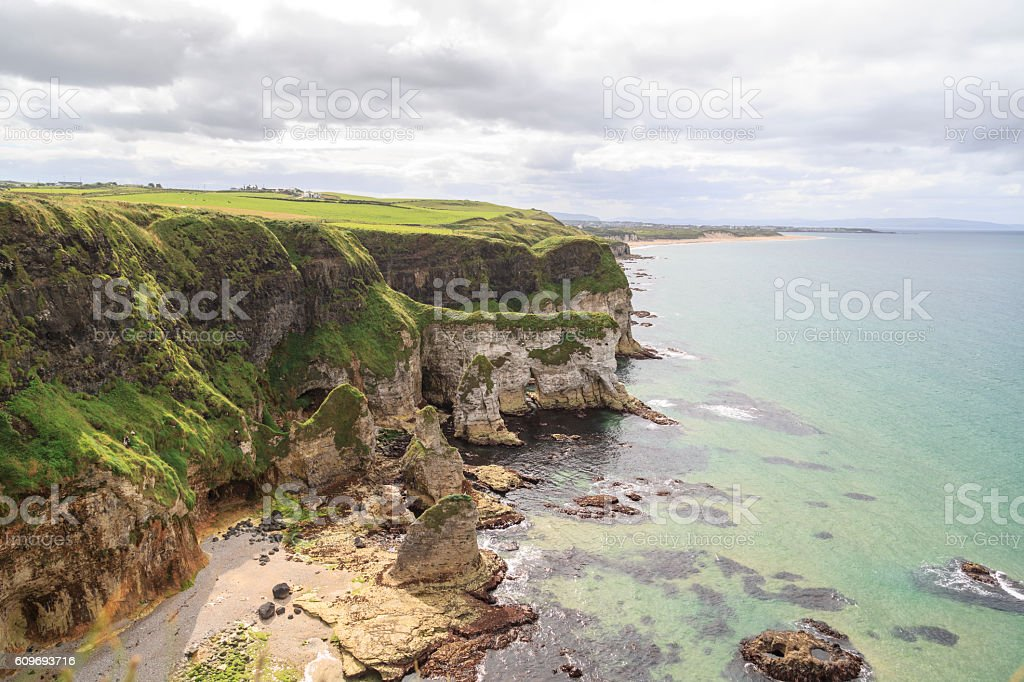 Irish  Landscape - Cliffs near Portrush in Northern Ireland. stock photo