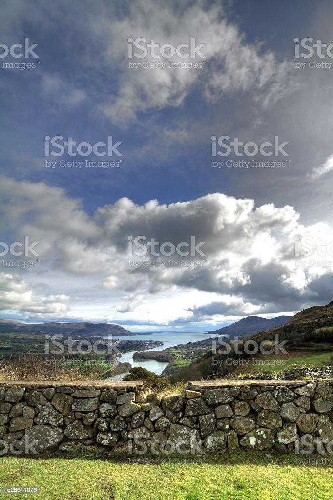 Irish landscape image of the mountains and sea. stock photo