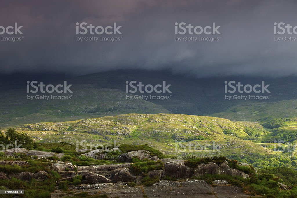 irish landscape with approaching storm clouds royalty-free stock photo