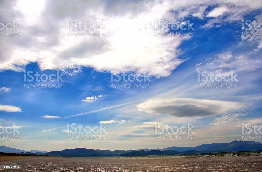 Irish landscape with sea and a big sky stock photo