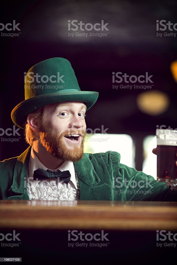 Irish / Leprechaun Character Series with Pint of Beer royalty-free stock photo