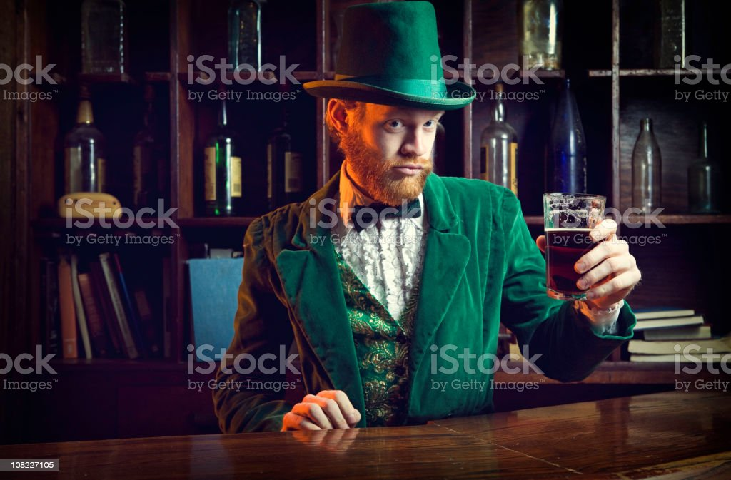 Irish / Leprechaun Character Series with Pint of Beer stock photo