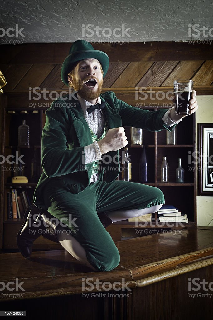 Irish / Leprechaun Character With Pint of Beer stock photo