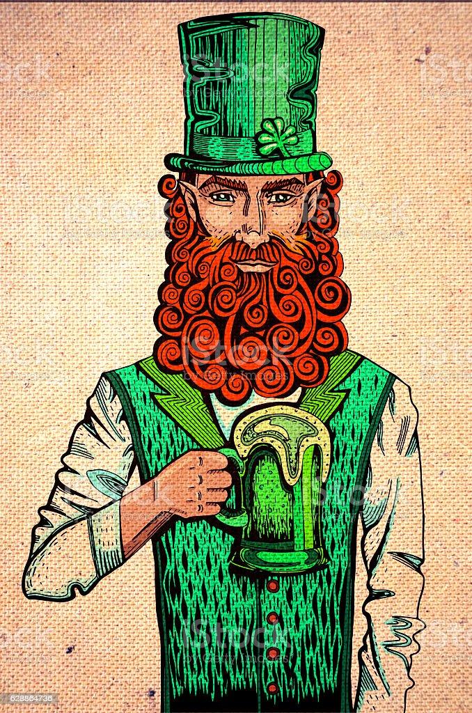 Irish leprechaun with beer drawing on cardboard stock photo