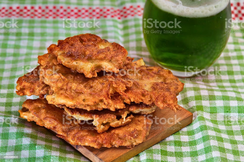Irish potato pancakes in st.Patrick's day themed setting stock photo