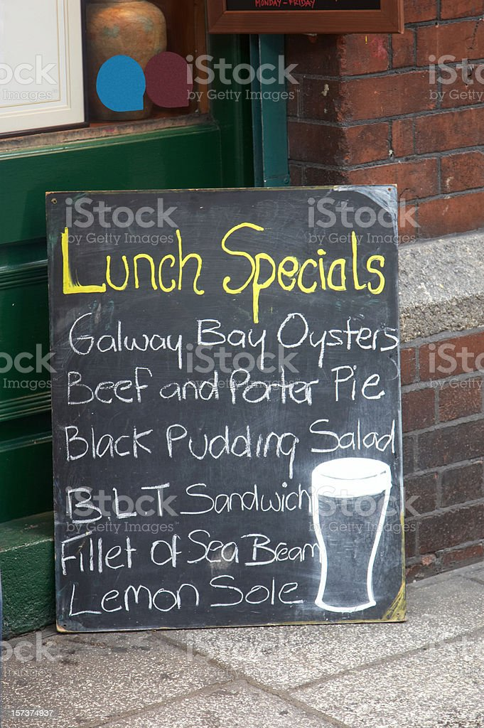 Irish pub food sign royalty-free stock photo