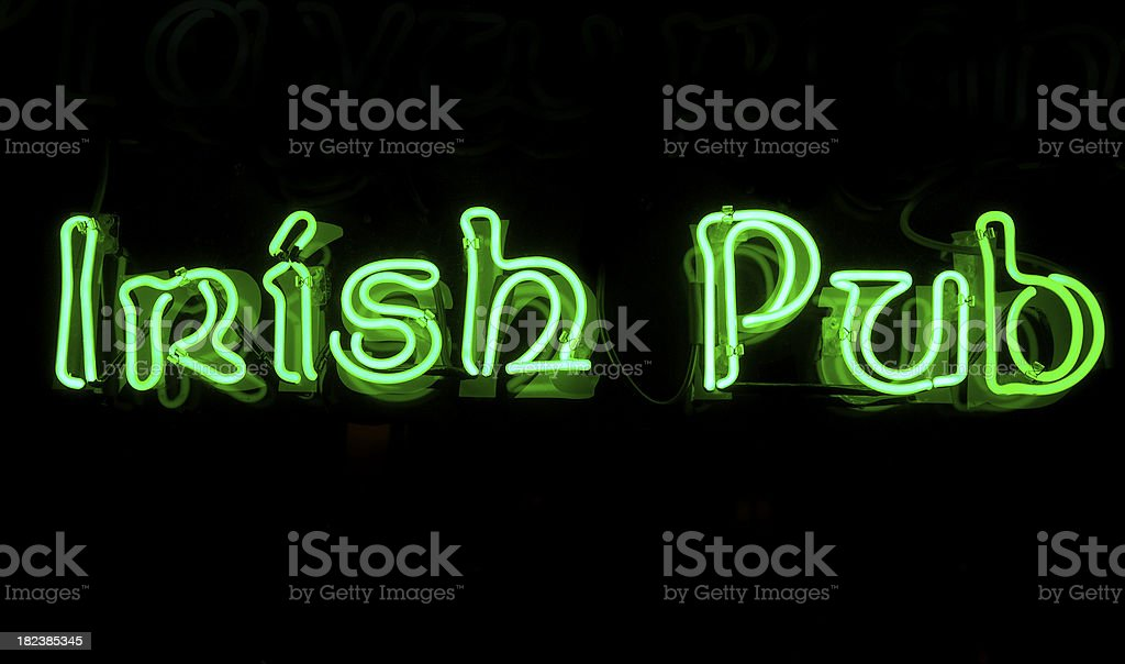 Irish Pub Neon Sign in Green royalty-free stock photo