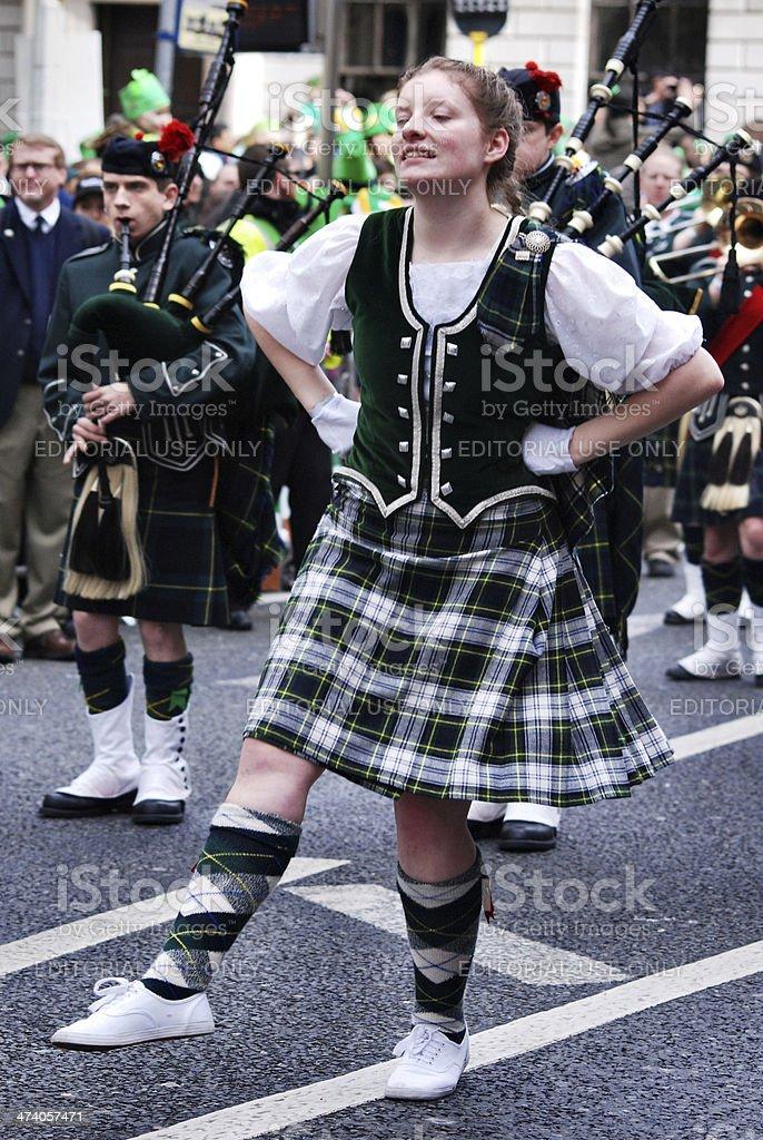Irish Redhead & Freckles girl dancing stock photo