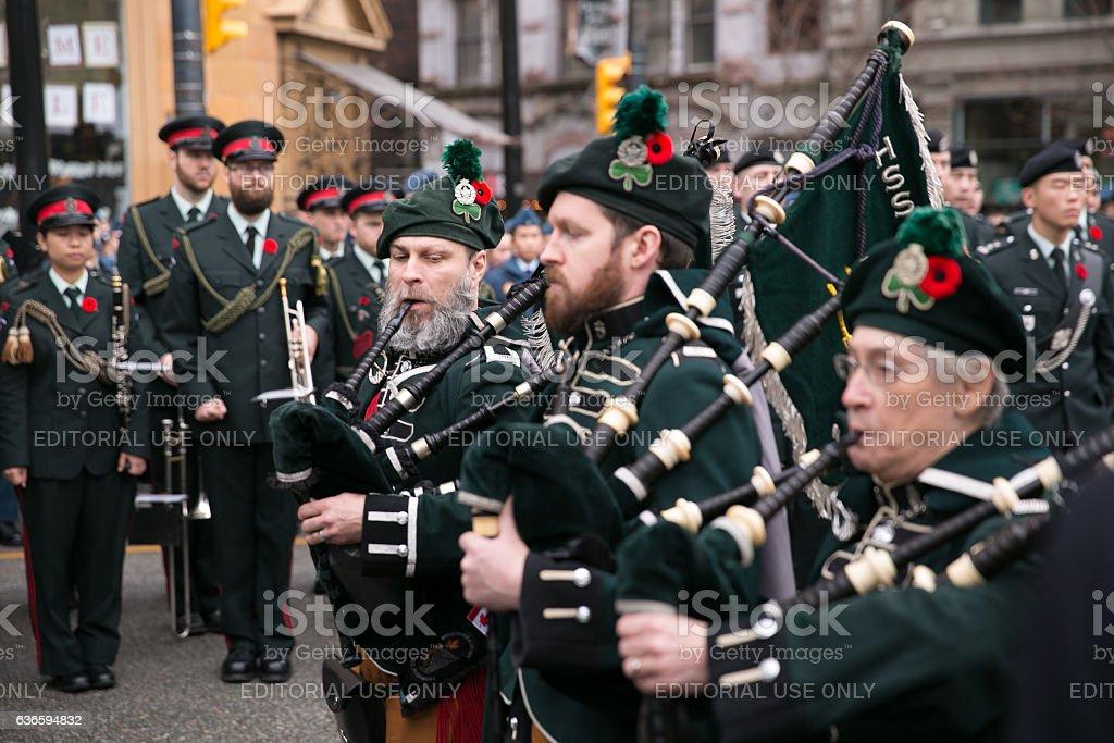 Irish Regiment pipe band stock photo