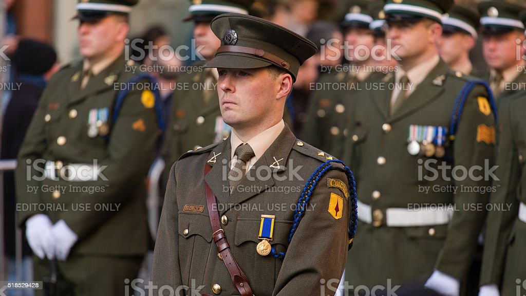 Irish soldiers at the parade stock photo