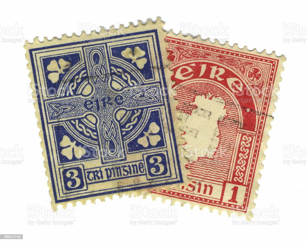 irish stamps royalty-free stock photo