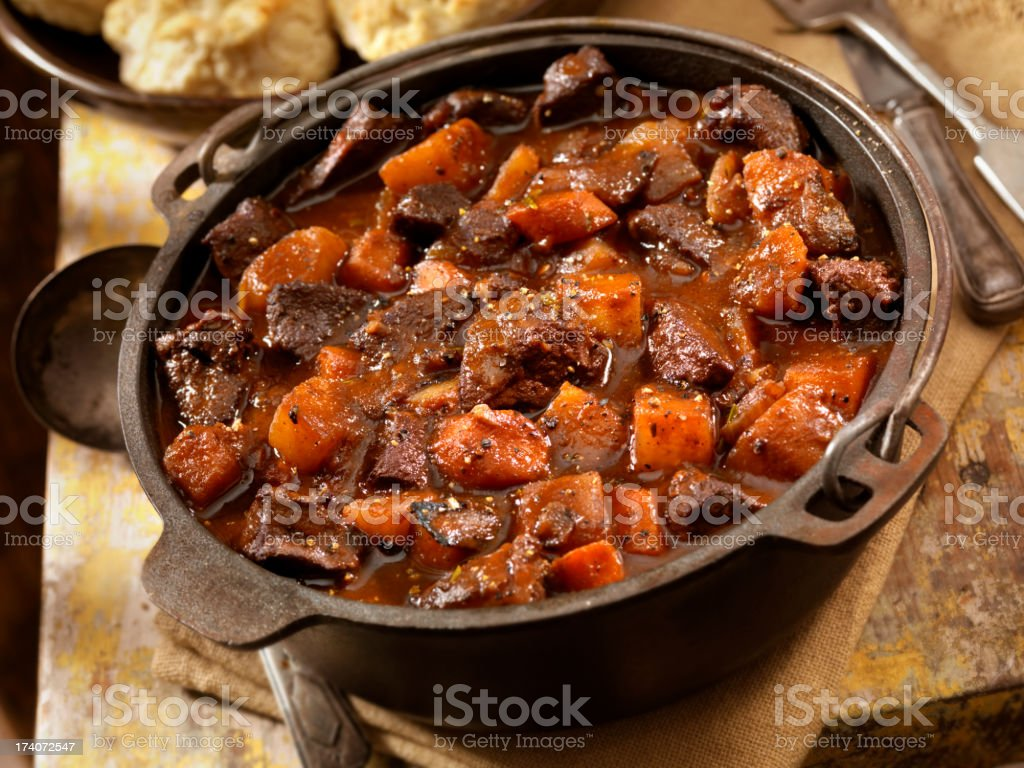 Irish Stew with Biscuits stock photo