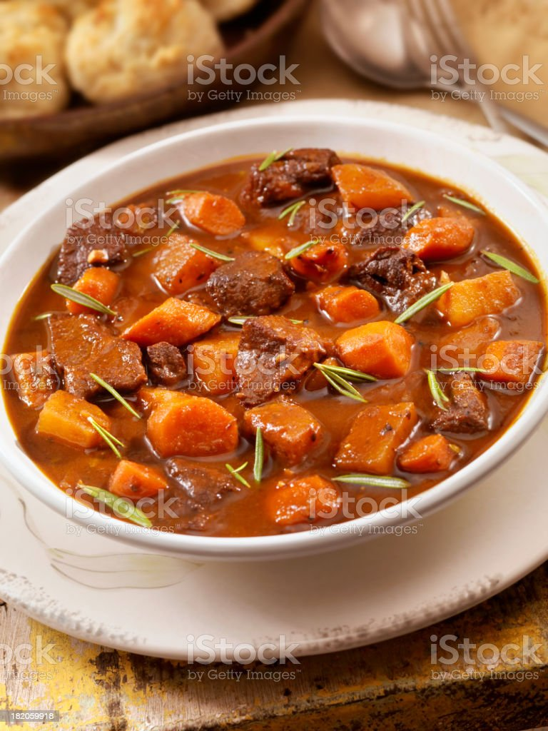 Irish Stew with Biscuits royalty-free stock photo