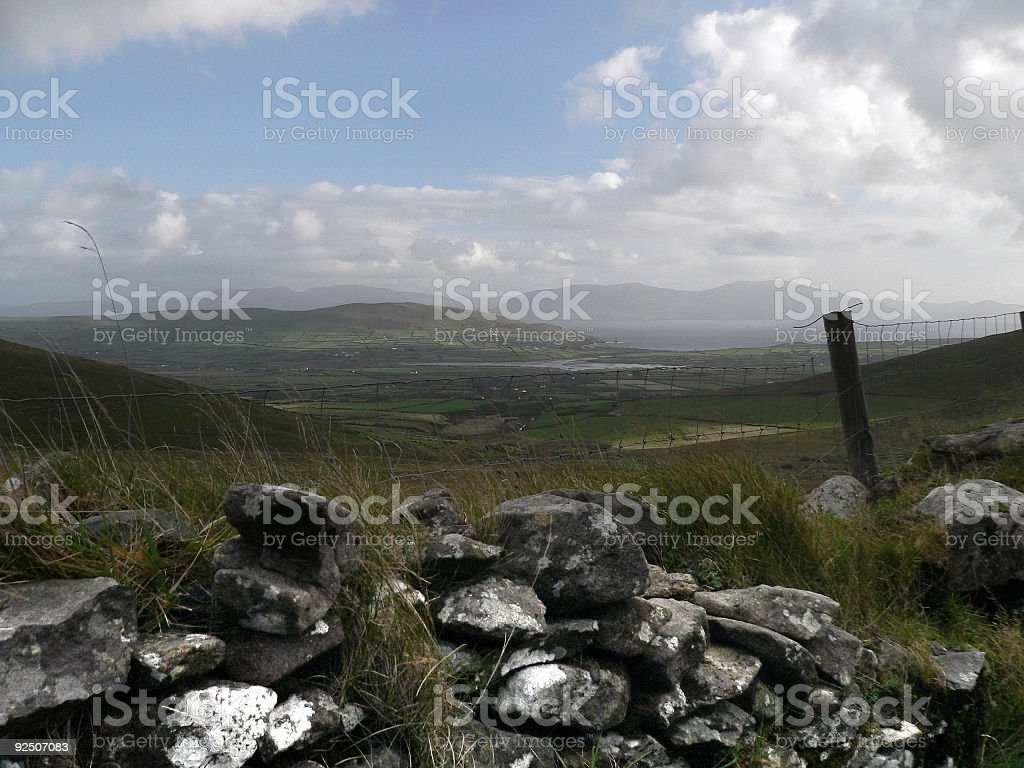 Irish Stone wall ditch and Fence overlooking Dingle Co Kerry stock photo
