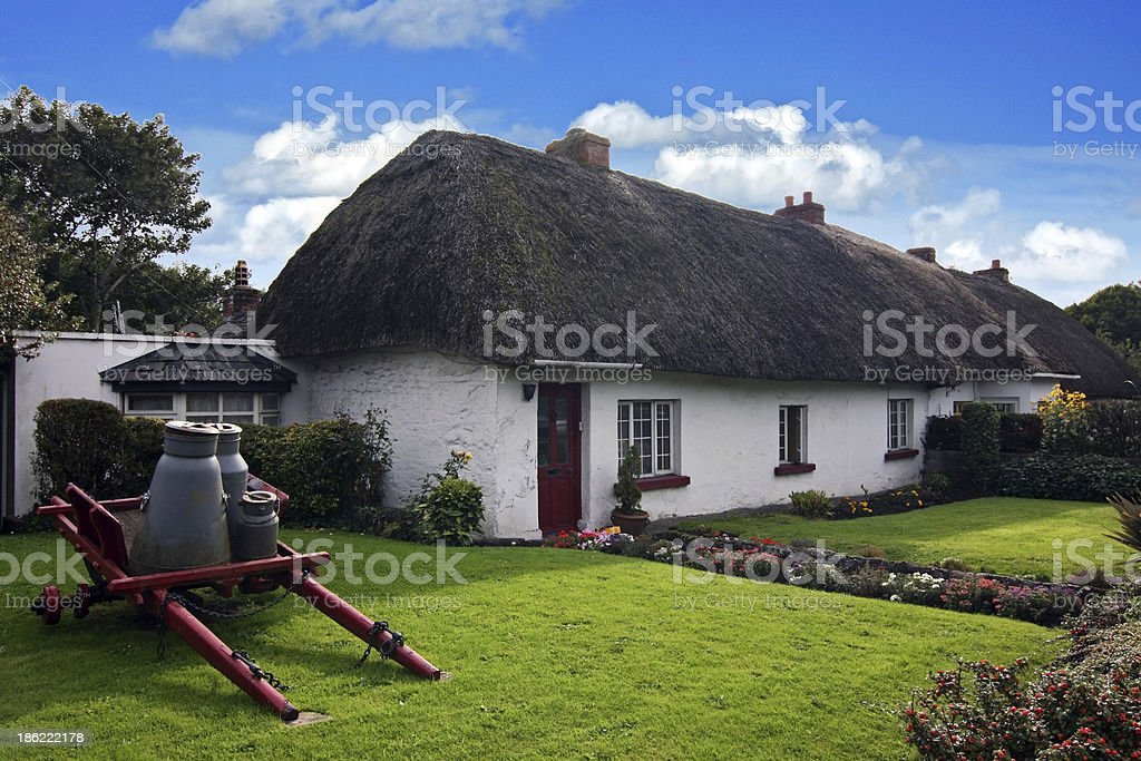 Irish traditional cottage house of Adare stock photo