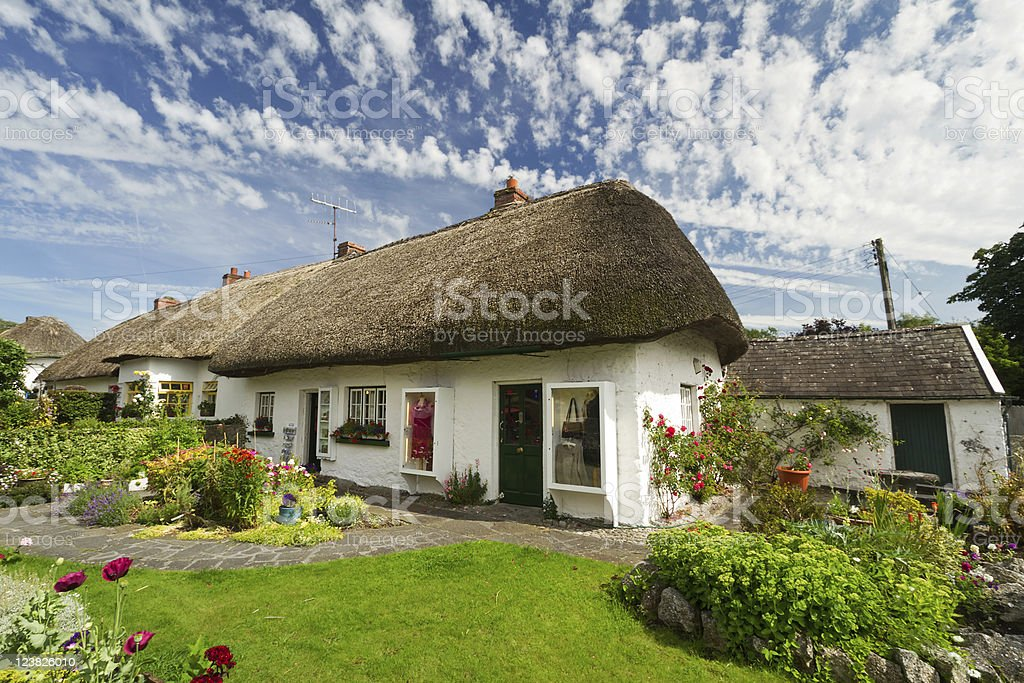 Irish traditional cottage house stock photo