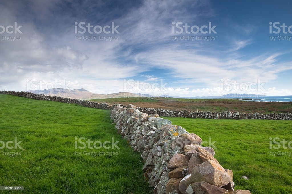 irish wall near Roonagh Quay, under a cloud, westport stock photo
