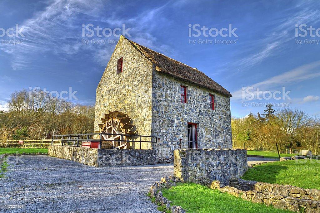 Irish water mill stock photo