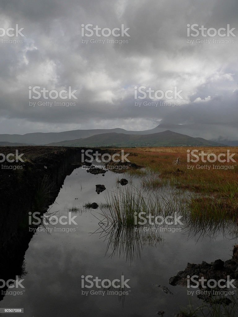 Irish Waterlogged Marsh, moor or Bog - Kerry, Ireland royalty-free stock photo