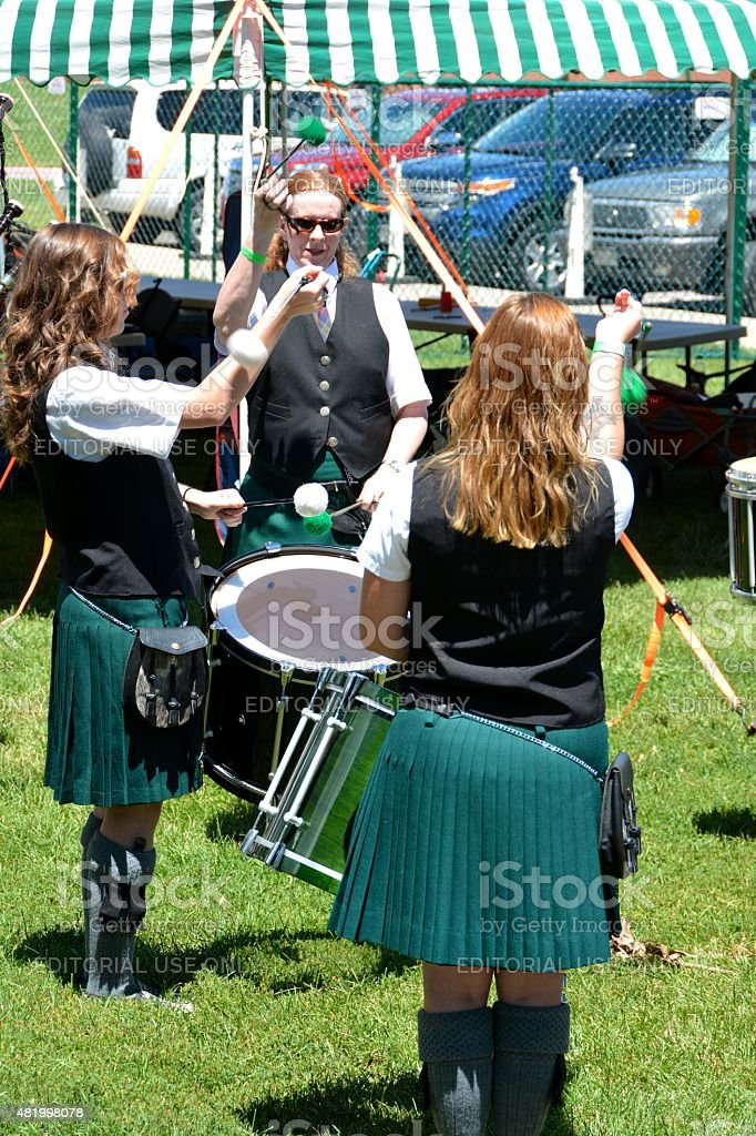 Irish Women playing drums stock photo
