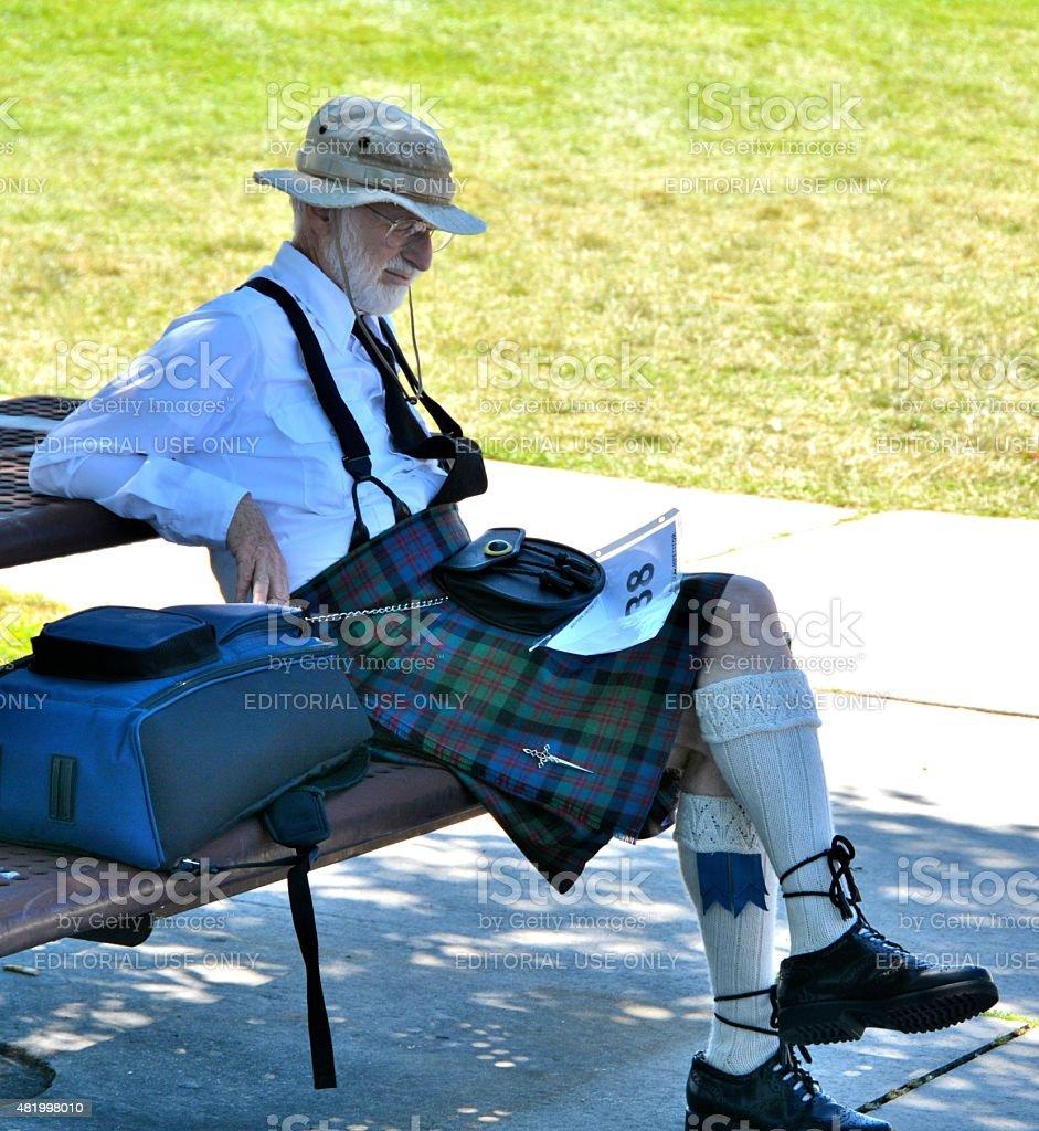 Irishman resting in the shade stock photo