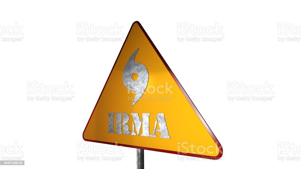 Irma Hurricane Warning Road Sign Isolated On White Background 3D Rendering stock photo