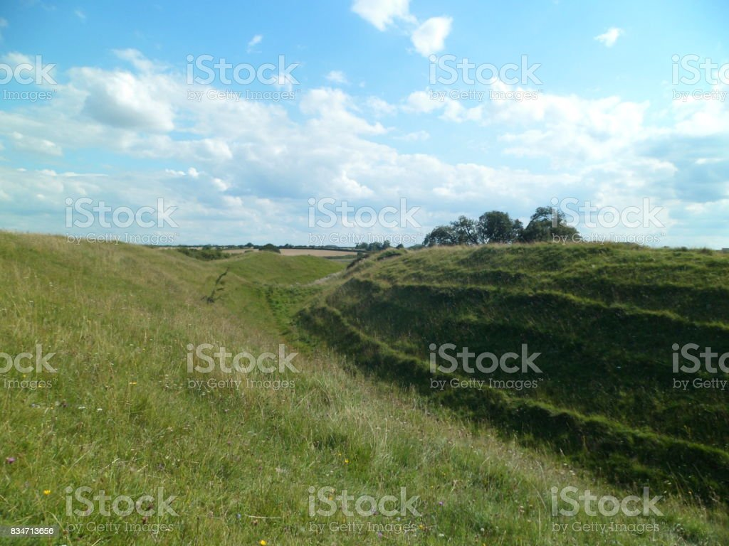 Iron Age Earthworks Surrounding Hill Fort - Iceni/Roman stock photo