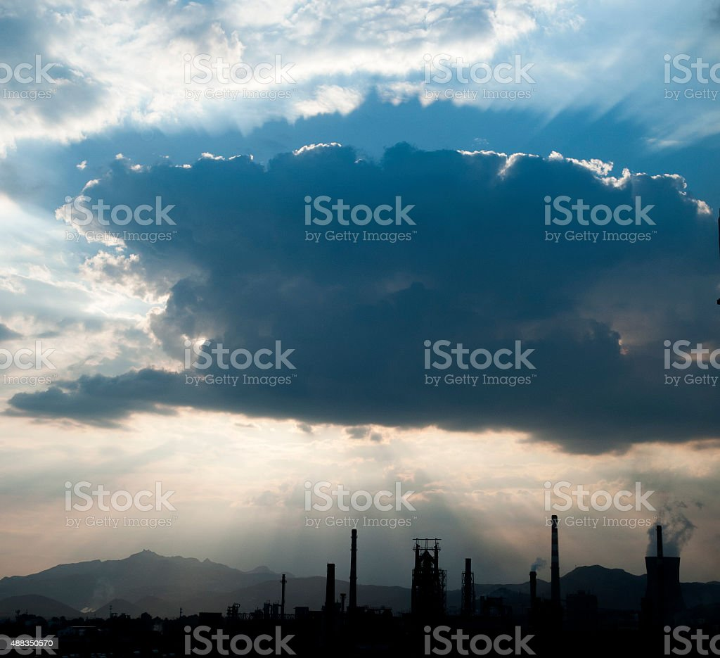 Iron and steel industry under the economic crisis stock photo