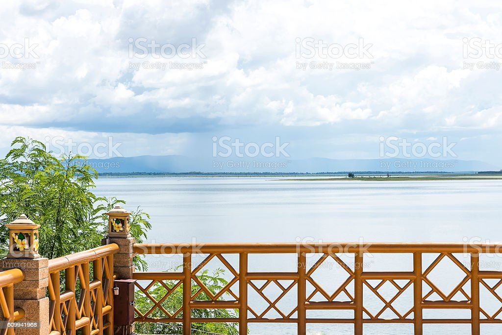 Iron balconies and river. stock photo