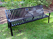 Iron Bench with Blank Memorial Plaque