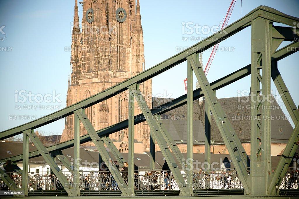 Iron Bridge and Frankfurt Cathedral stock photo