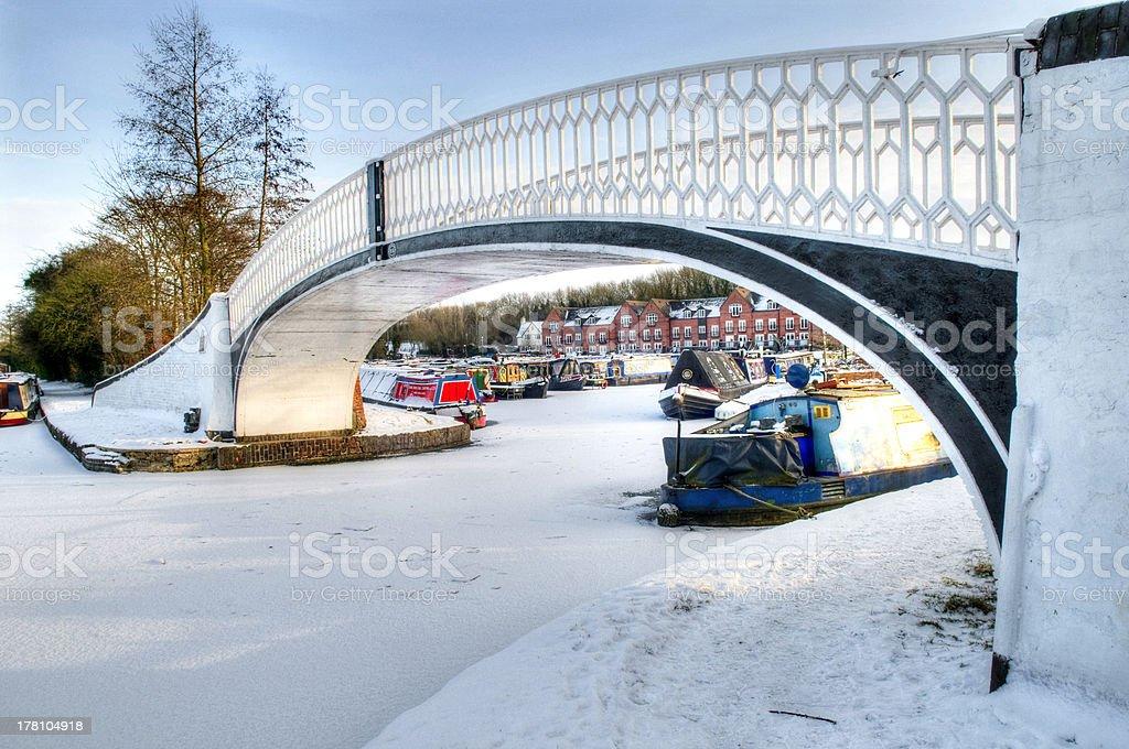 Iron Bridge at Braunston Marina. Northamptonshire stock photo
