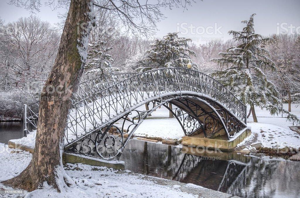 Iron Bridge covered in Snow stock photo