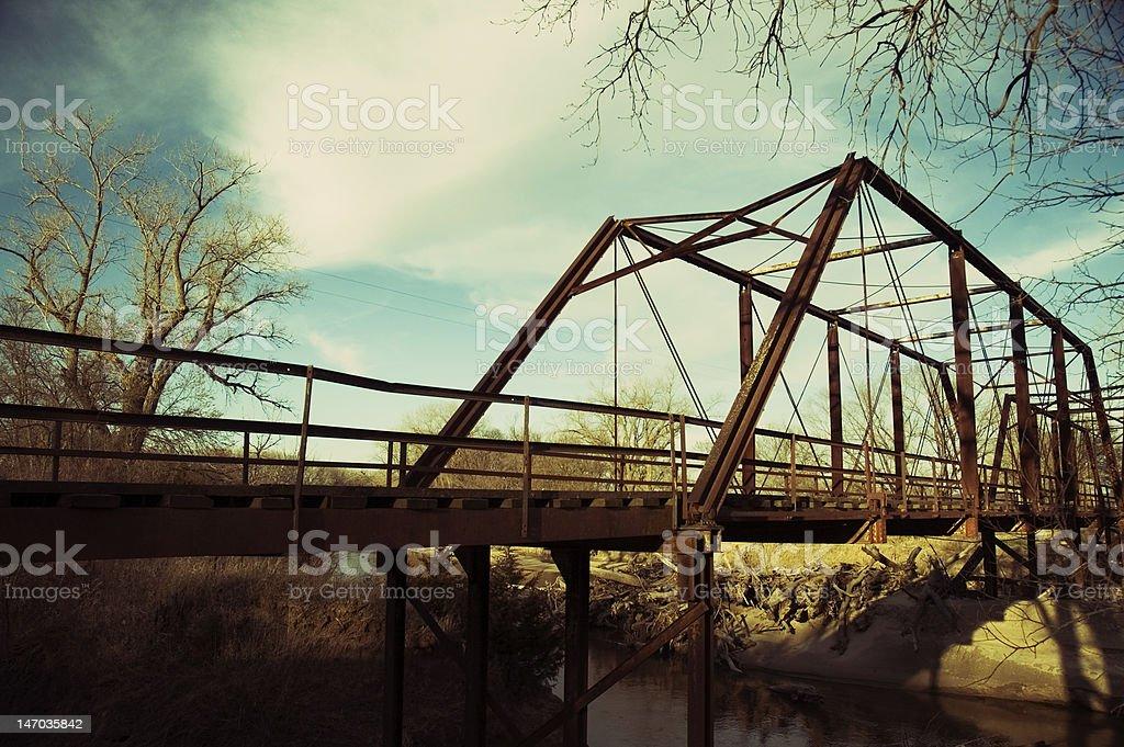 Iron Bridge Cross Processed stock photo