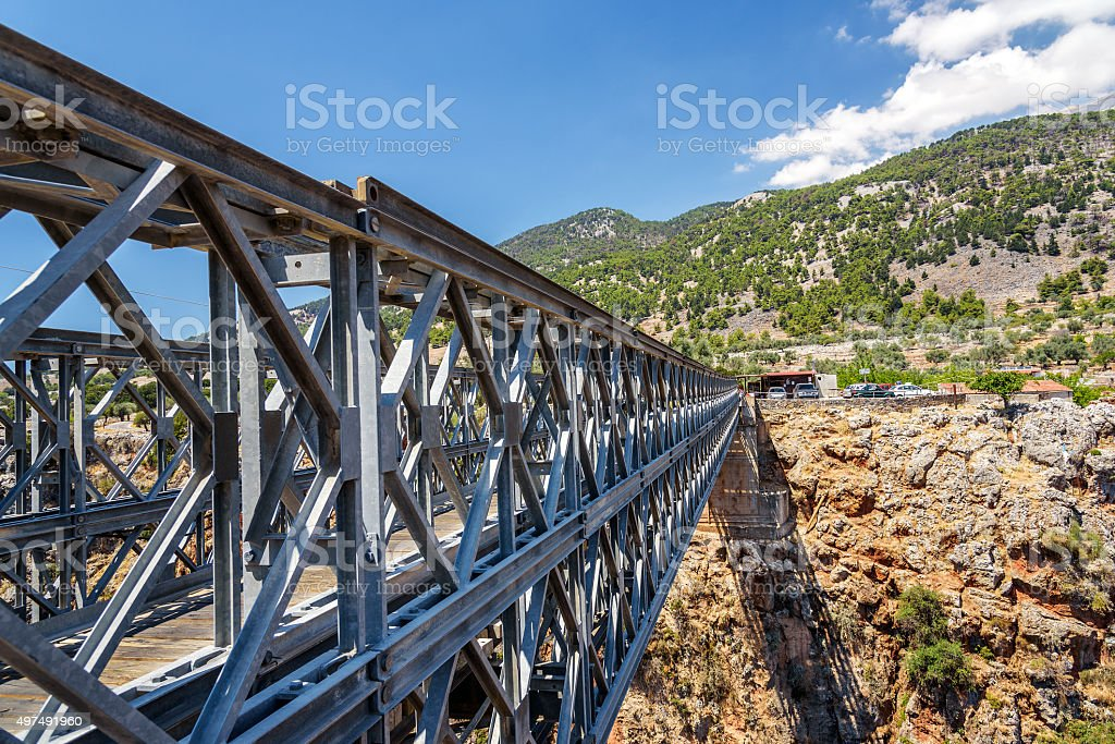 Iron bridge over Aradena gorge, Crete island, Greece stock photo