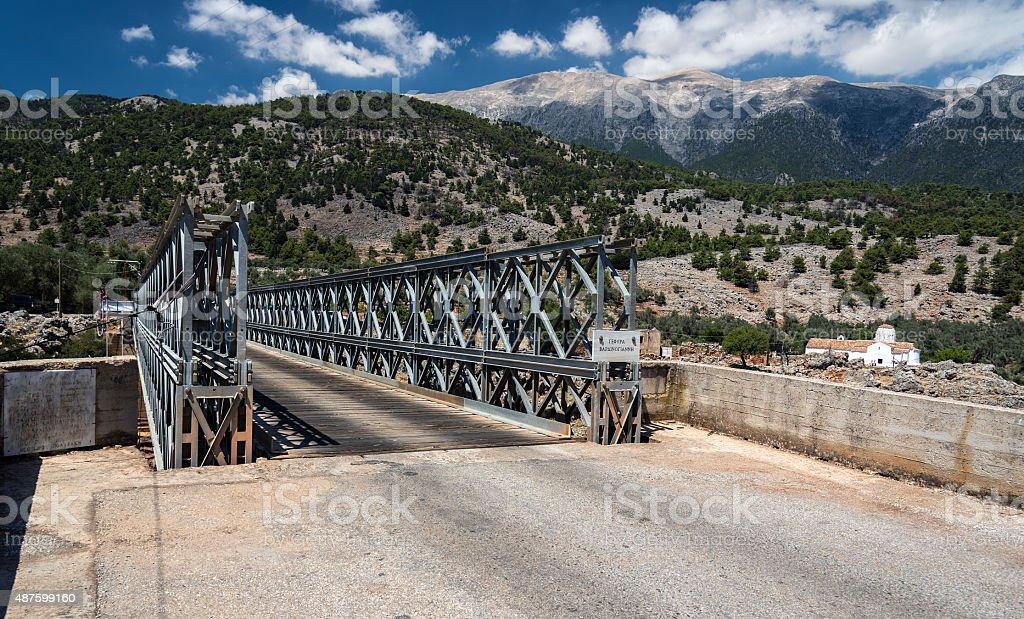Iron bridge over Aradena gorge, Crete island stock photo