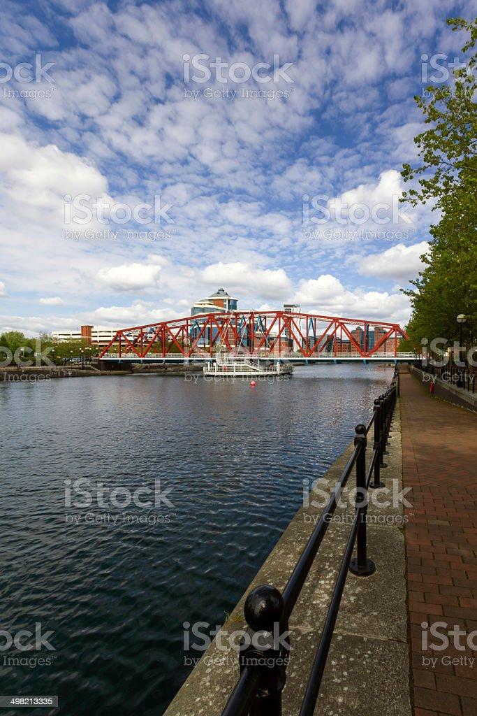 Iron Bridge Salford Quays Manchester stock photo