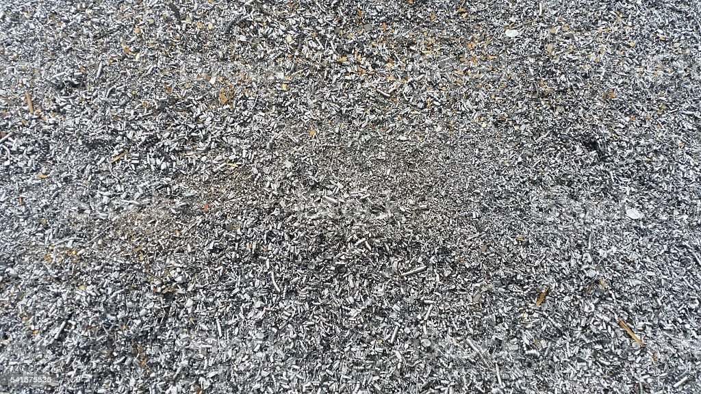 iron chips sent for recycling stock photo