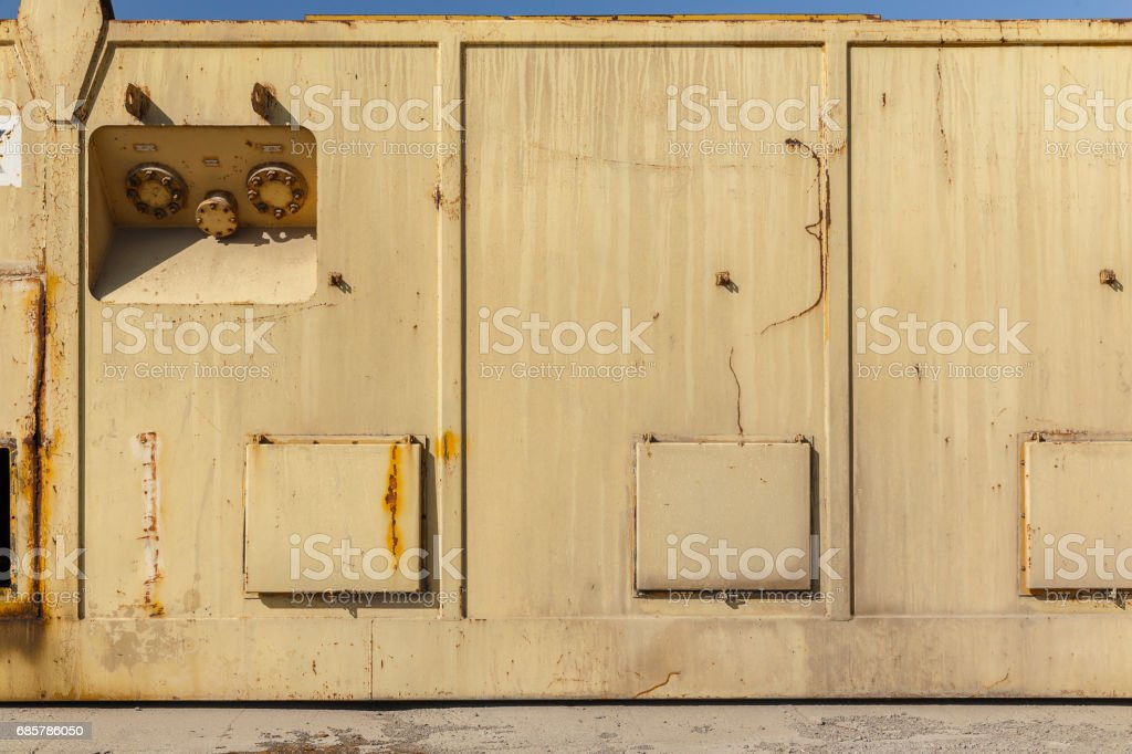 Iron container on the shore stock photo