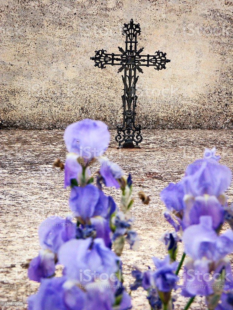 Iron cross and blue iris flowers on the grave stock photo