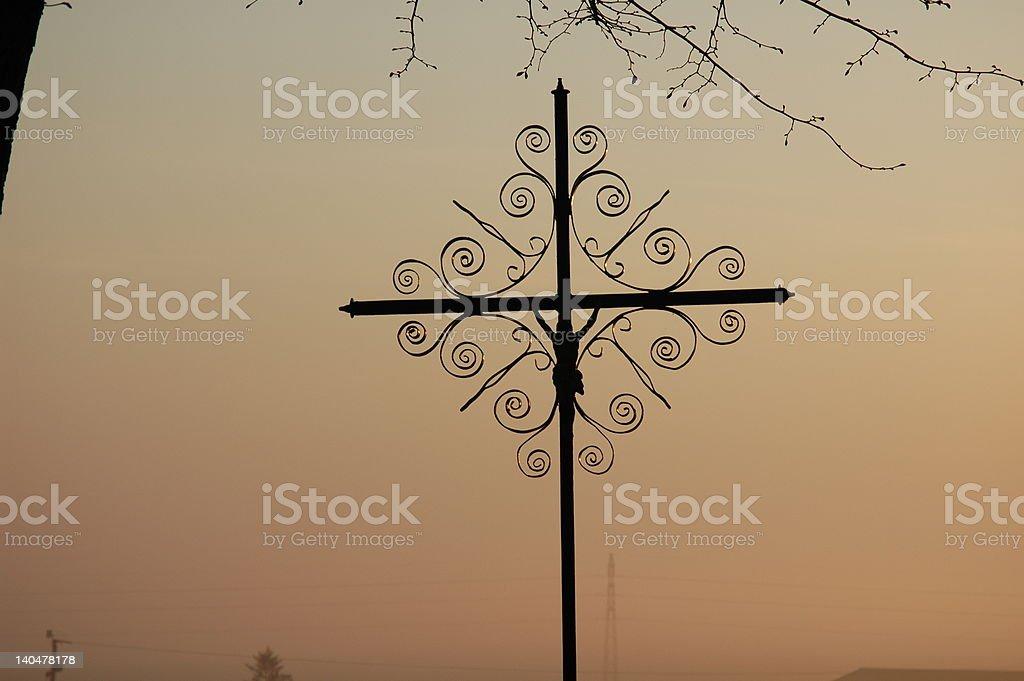 Iron crucifix stock photo