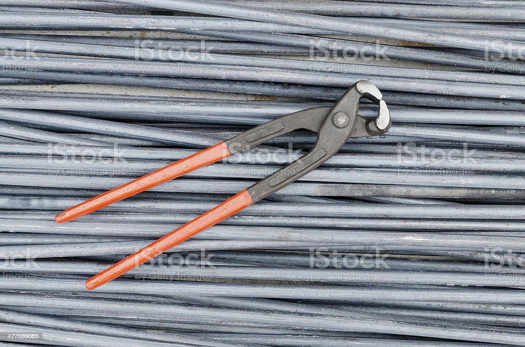 Iron cutting tongs on steel rod stock photo