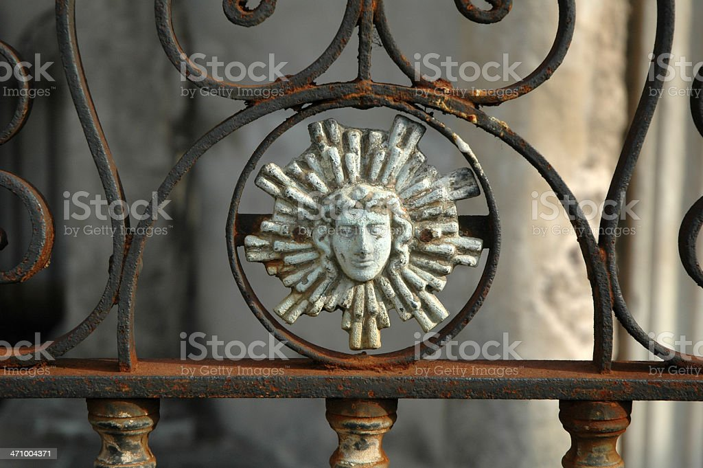 Iron face with halo. royalty-free stock photo
