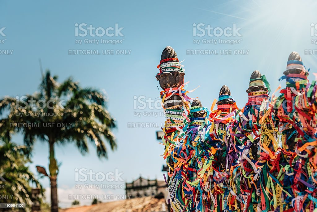iron fence with colorful ribbons in Salvador, Brazil stock photo