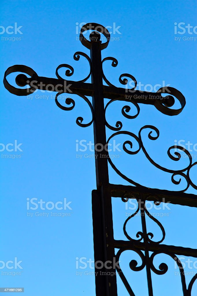 iron fence with stock photo