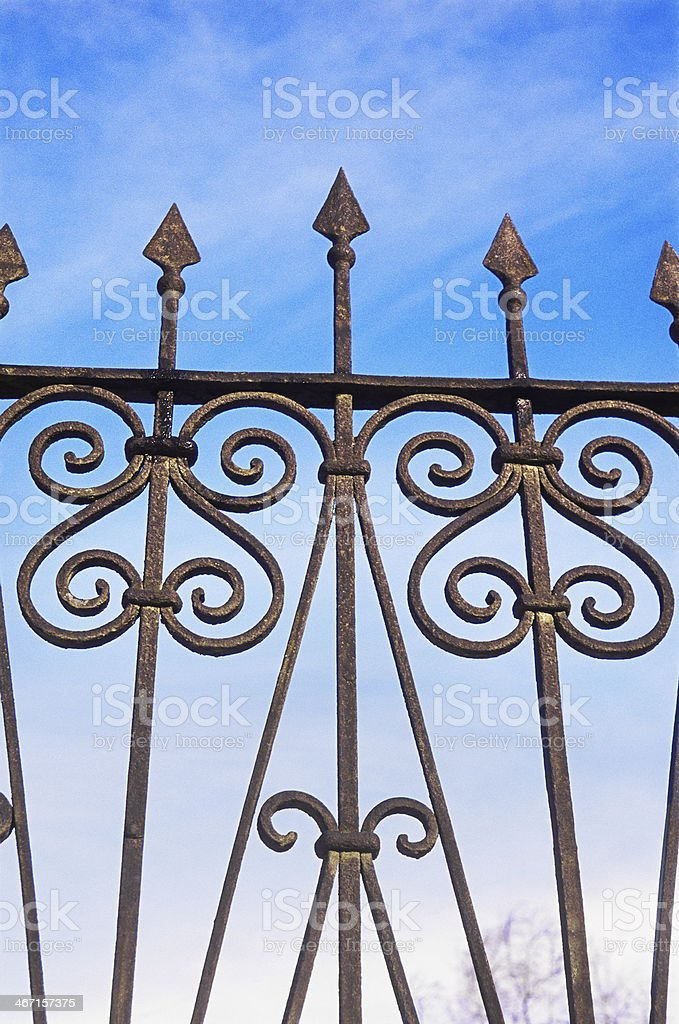 Iron fence - work of the old masters. royalty-free stock photo